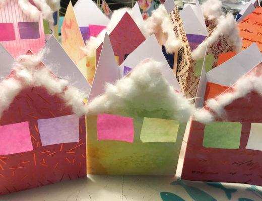 kerstkaarten knutselen, huisjes kerstkaarten, sfeerhuisjes, christmas craft, knutselen met papier