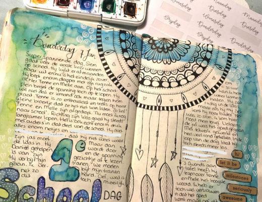 bulletjournal, bujo, aquarel, waterverf, artjournal, dagboek