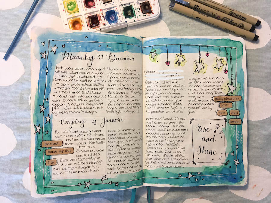 bulletjournal, bujo, waterverf, aquarel, dagboek