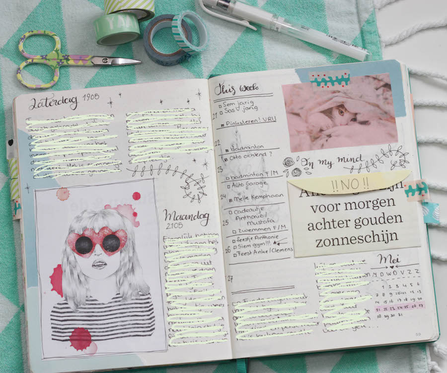 bullet journal dagboek, bujo, creative journal, washitape, handletteren, journalling, weekoverzicht, weekly