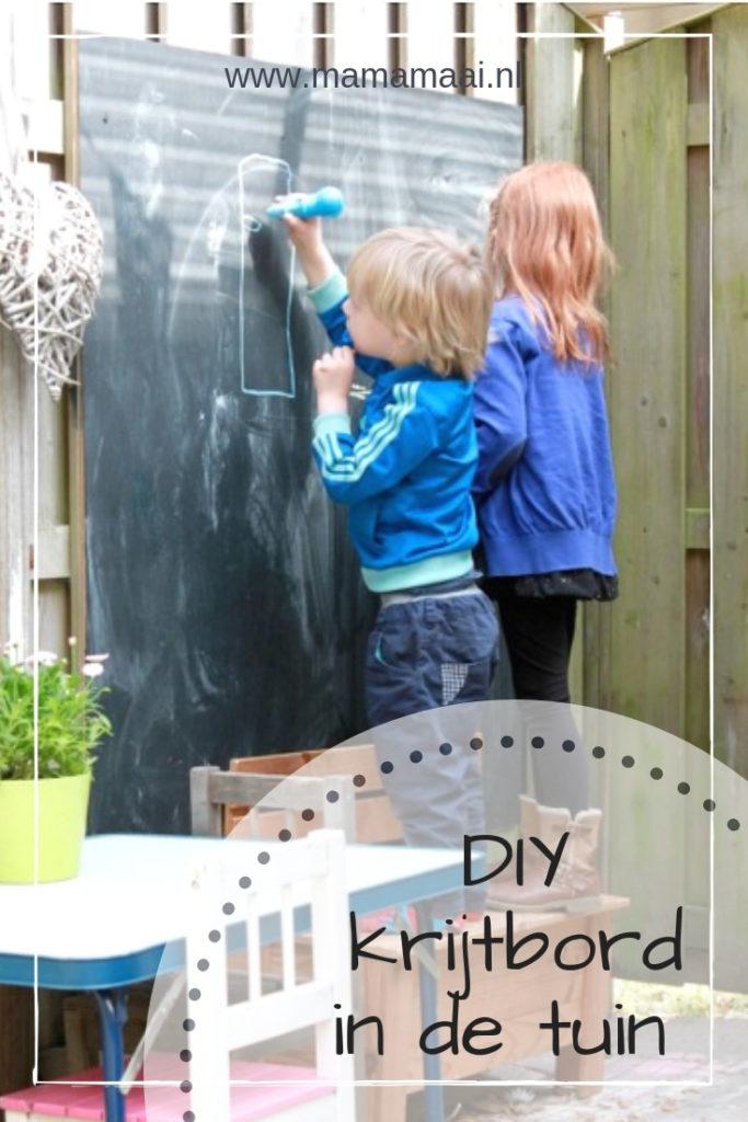 diy schoolbord maken in de tuin, krijtbord