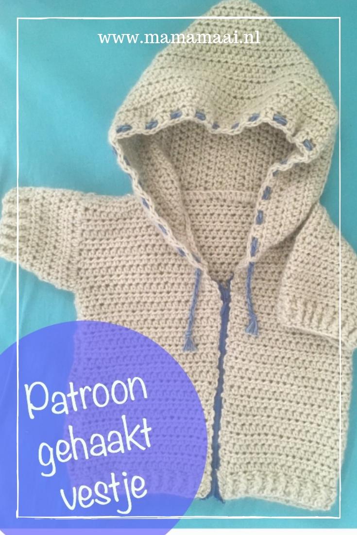 patroon gehaakte babyhoody, baby vestje met capuchon zonder mouwen, gratis haakpatroon