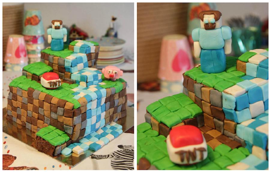 Minecraft taart, kinderverjaardag jongen, 6 jaar, cake,