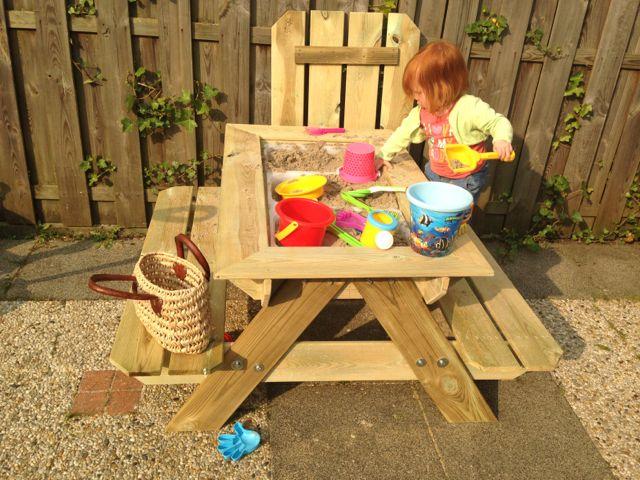papa blog, zandtafel maken tuin, picknick tafel maken, DIY
