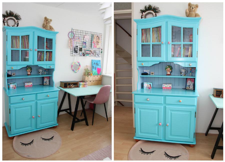 grote meidenkamer, make over kinderkamer, kinderkamerstyling, meubels opknappen, kast blauw verven