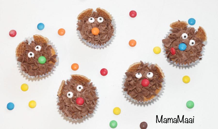 beren cupcakes, chocolade botercreme