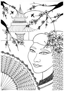 kleuren voor volwassenen, geisha, ooster, japan