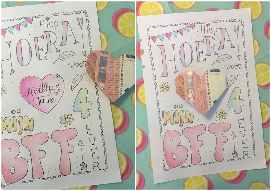 geld op een kinderfeestje als cadeau, hartje vouwen van geld, origami met briefgeld