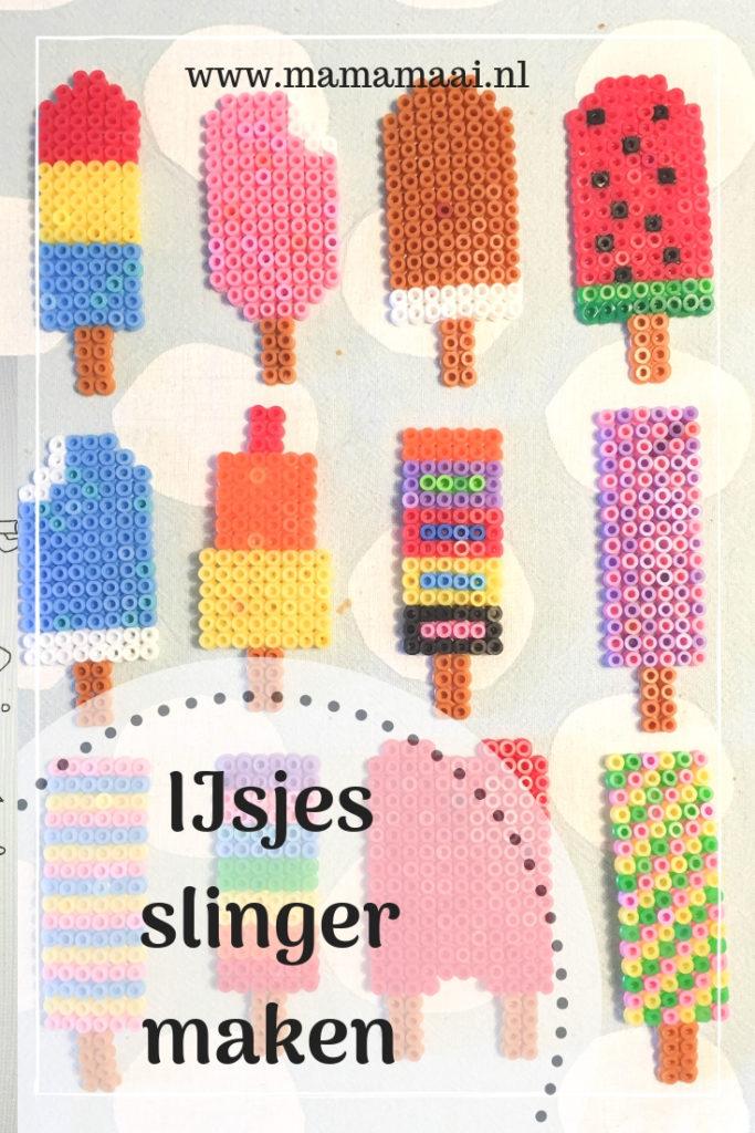 ijsjesslinger maken van strijkkralen, knutselen met kinderen, creatief met klueters, haha beats, strijkkralen ijsjes, diy