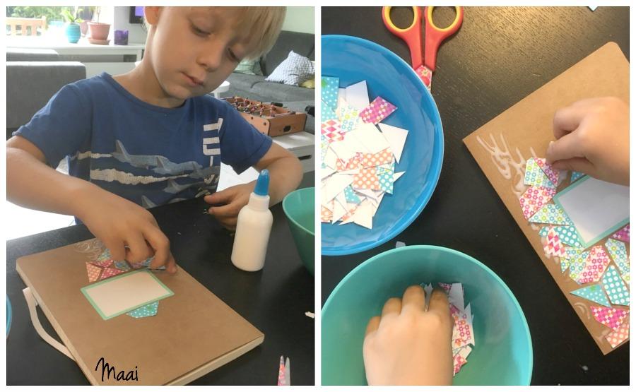 notitieboekje mozaïeken, juffencadeau, moederdag cadeau, knutselen met kinderen, crafts for kids