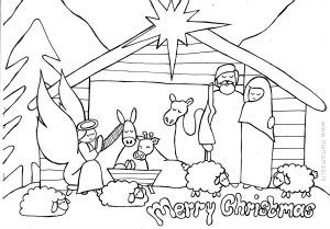 kerst, kleurplaat, kerststal, christmas