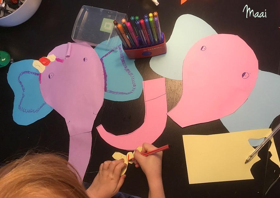 olifantjes knutselen van papier, knutselen met kinderen, crafts for kids, knutselen met papier,