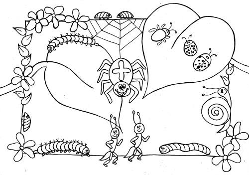 Kleurplaten Van Insecten.Kleurplaat Insecten Mama Maai
