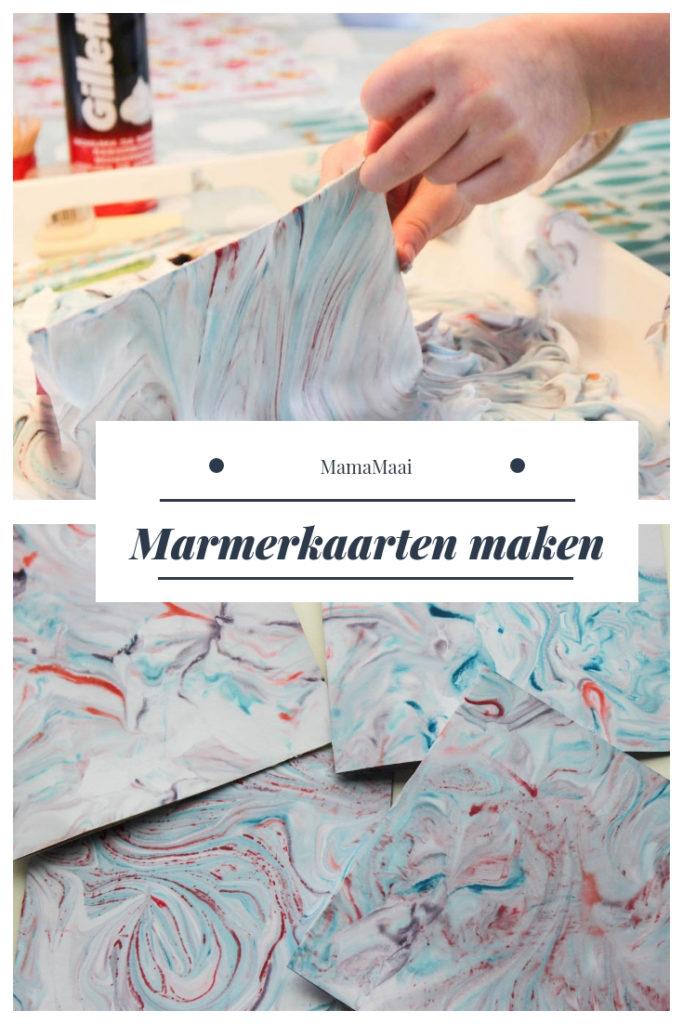 marmerpapier maken, marmerkaarten knutselen, knutselen met kinderen, die, creatief met papier, scheerschuim,
