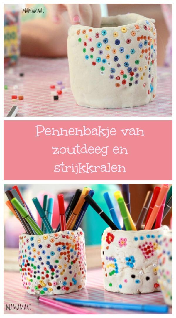 pennenbakje van zoutdeeg en strijkkralen, hamabeads, zoutdeeg recept, crafts for kids, knutselen, diy