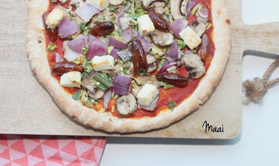 zelf pizza beleggen, pizza, vegetarisch, koken