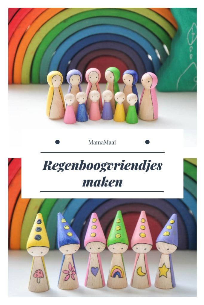 diy regenboogvriendjes, houten regenboog Grimm's, pegdolls verven, houten speelgoed zelf maken