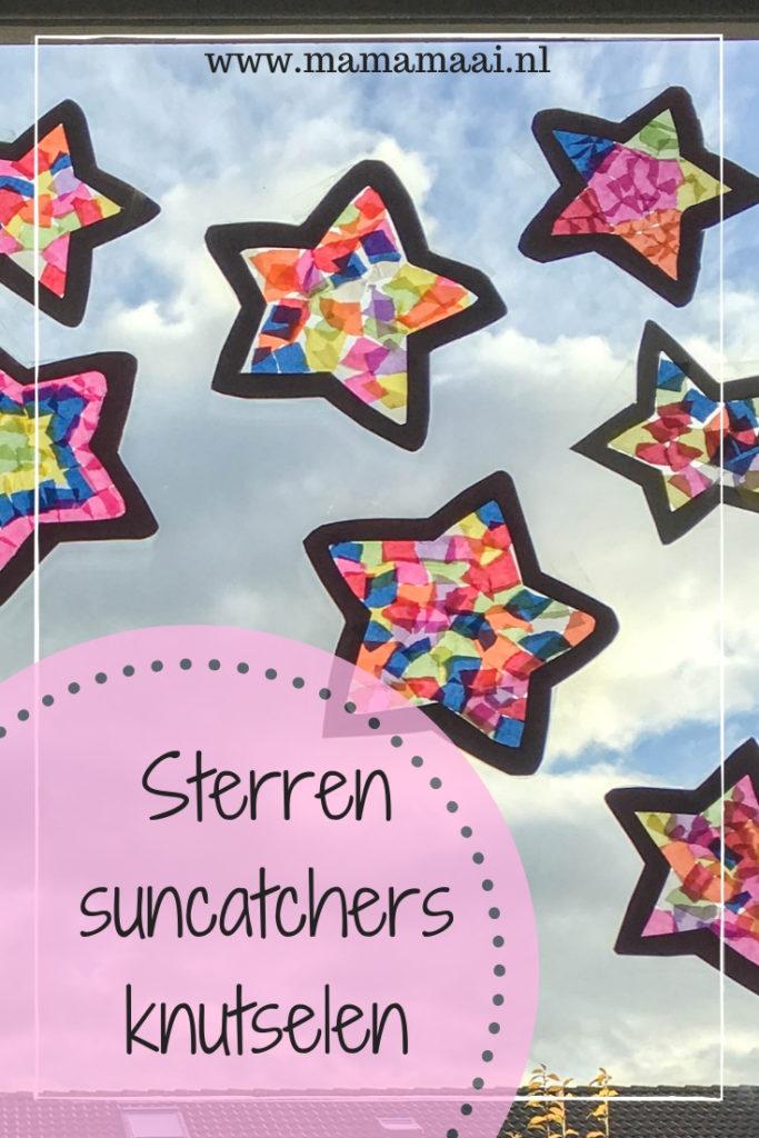 sterren suncatcher knutselen, diy, creatief met kinderen, knutselen met papier, vliegerpapier, sinterklaas knutselen