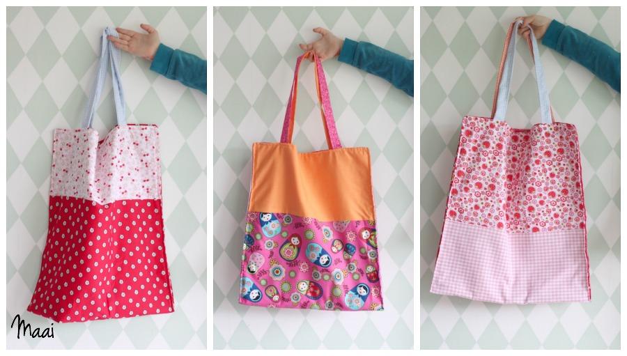 DIY tote bag, crea hop, zelf katoenen tasje naaien, katoenen tasje