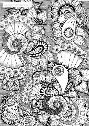 kleuren volwassenen, doodles, zentangles