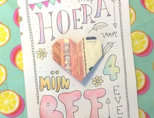 hartje van geld, DIY geld in een hartje vouwen, origami, handletteren, kinderfeestje, kleincadeautje, handletteren