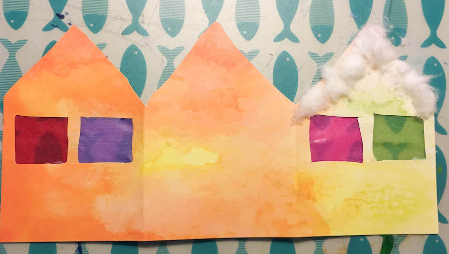 kerstkaarten maken met kinderen, kleuter, peuter, kerst knutselen, christmas craft, knutselen met papier, sfeerhuisjes