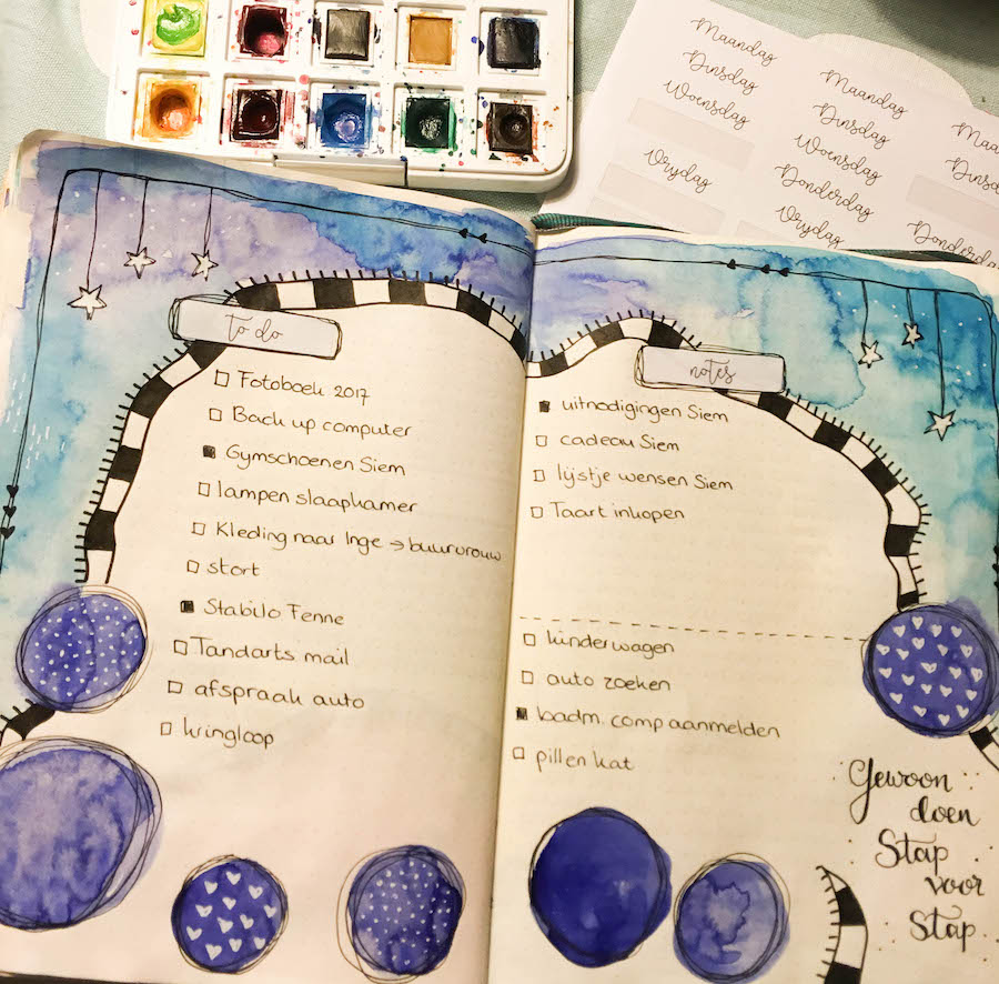 bulletjournal, bujo, aquarel, waterverf, artjournal, dagboek, to do list