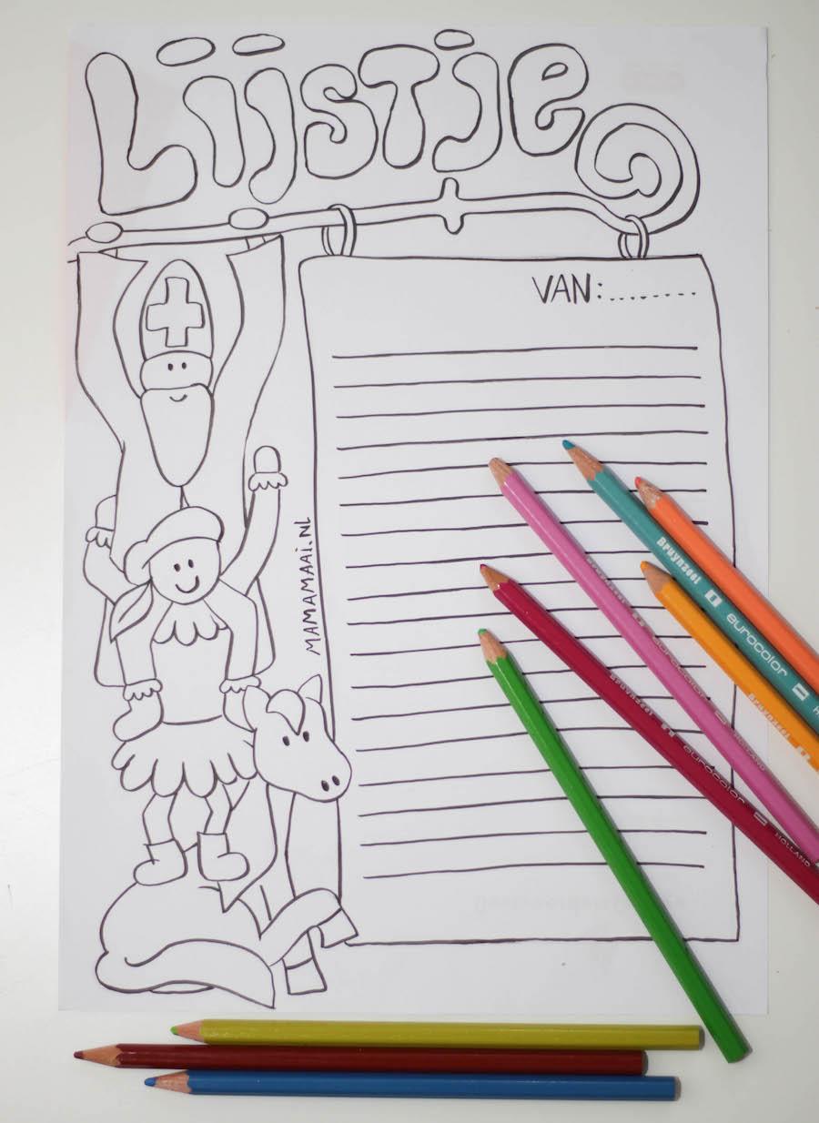 sinterklaas verlanglijstje om in te kleuren, gratis download, printeble, sinterklaas wensenlijstje