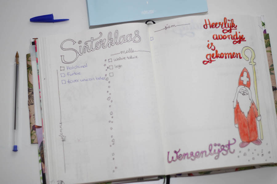 bullet journal, bujo, sinterklaaslijstjes, lijstjes, agenda, journalling, bullet journal update