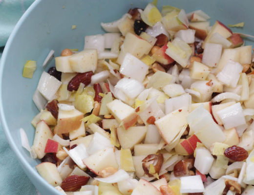 lunchtip, witlofsalade met appel en dadels, salade