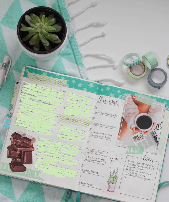 bullet journal dagboek, bujo, creative journal, washitape, handletteren, journalling, weekly, weekoverzicht, weekplanning, planner