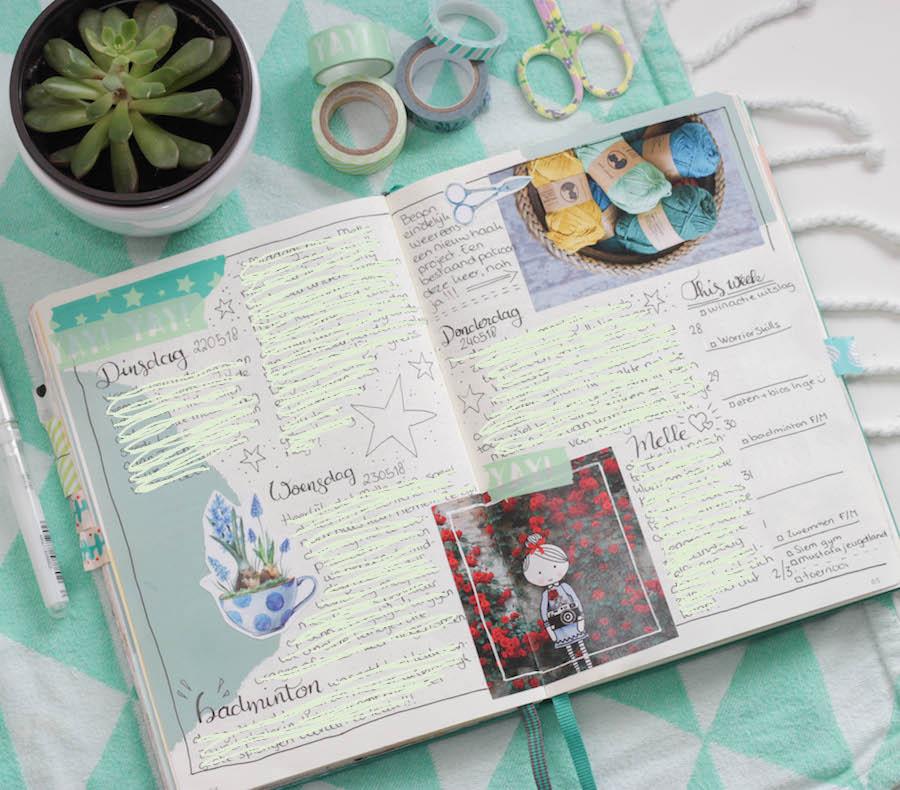 bullet journal dagboek, bujo, creative journal, washitape, handletteren, journalling