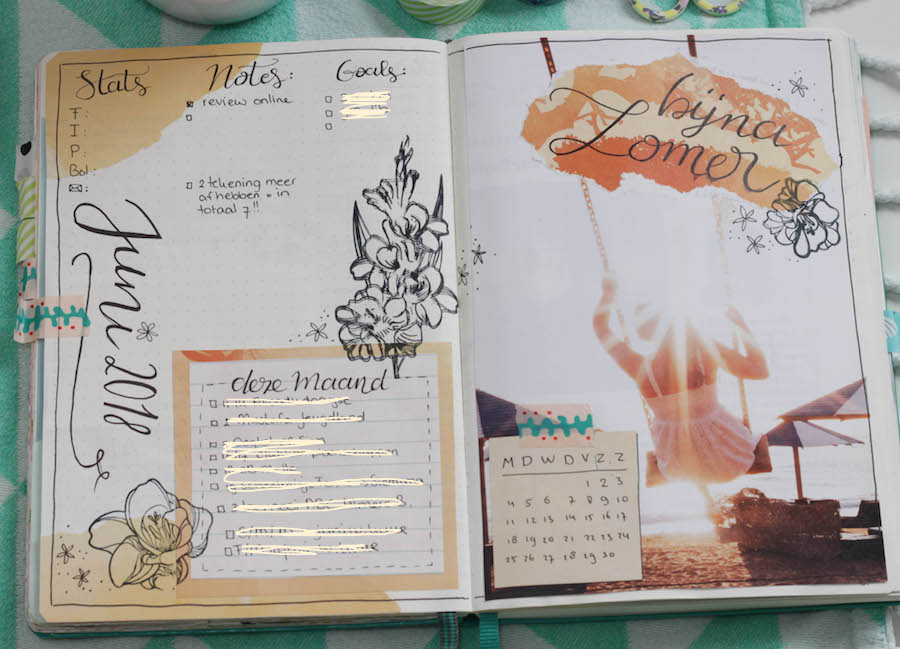bullet journal dagboek, bujo, creative journal, washitape, handletteren, journalling, maandoverzicht, monthly
