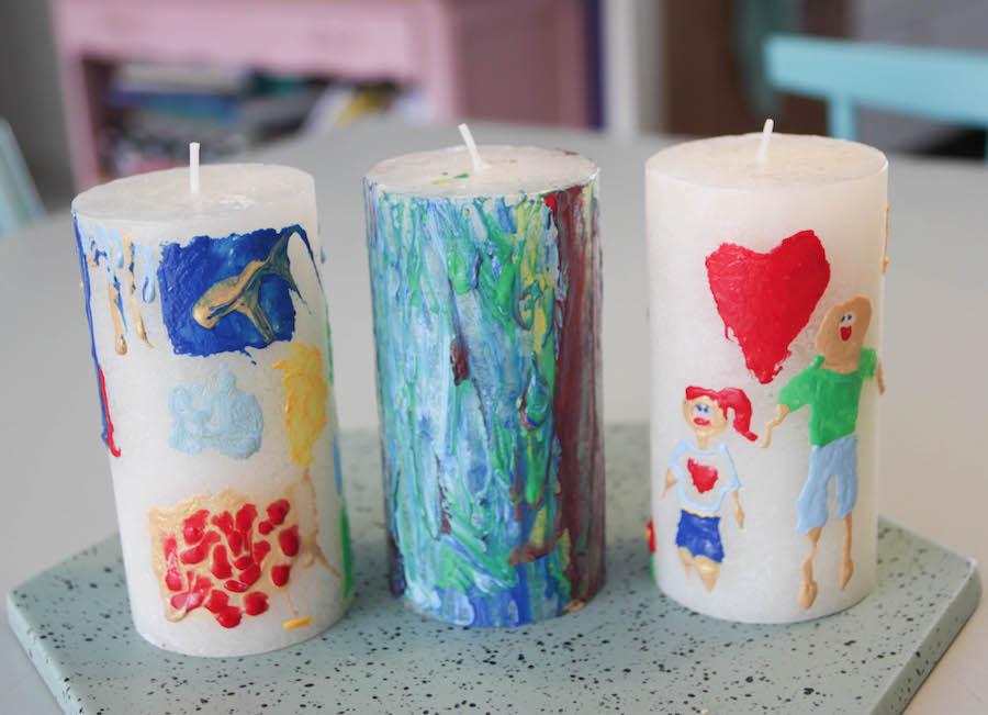 kaarsen versieren, tekenen op kaarsen, vaderdag, juffendag, moederdag, knutselen met kinderen, crafts for kids, bolsius kaarsen, kaarsen maken, diy kaarsen