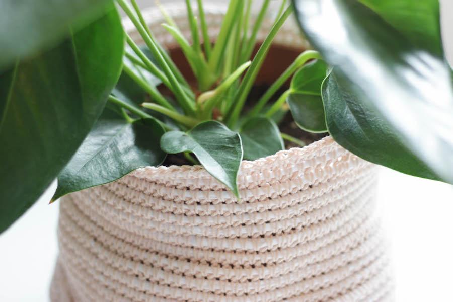 gehaakte plantenmand, mand voor een plant haken, crochet basket, haken, diy, creatief, creatief met wol