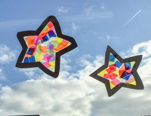 sterren suncatcher knutselen van vliegerpapier,