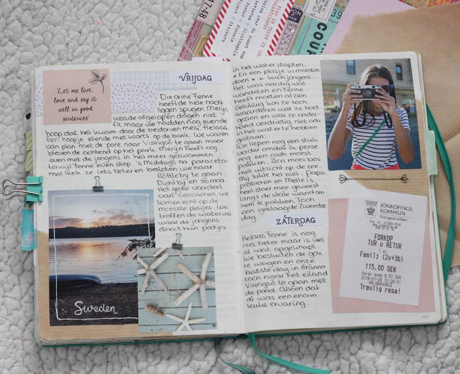bulletjournal, traveljournal, journaling tijdens de reis Zweden, reisverslag