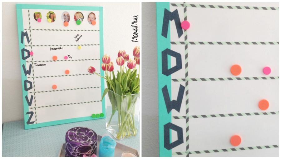 DIY weekbord, weekplanning, schoolbord