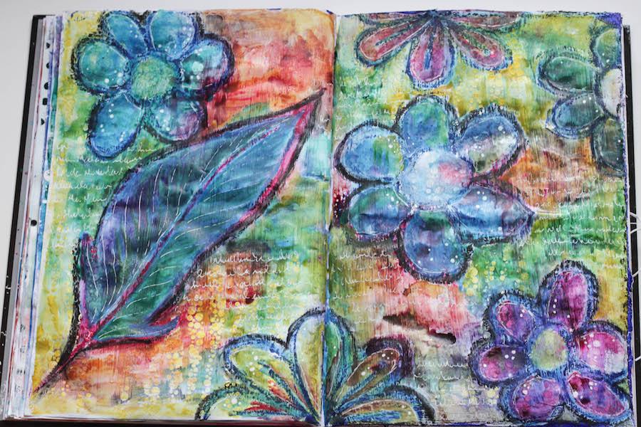 vetkrijt en waterverf gebruiken bij kunstopdracht voor kinderen