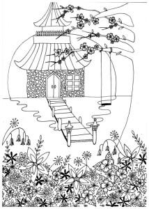 kleuren voor volwassenen, botanische tuin, japan