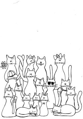 kleuren voor volwassenen, katten kleurplaat, kleurplaat cats, coloring page cats
