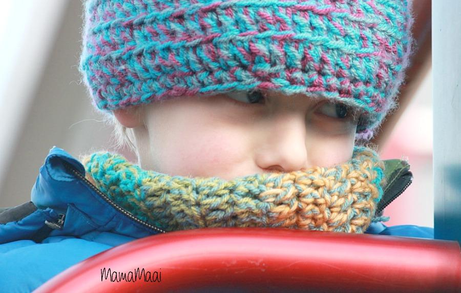 DIY colsjaal haken, warme kinder sjaal, DIY