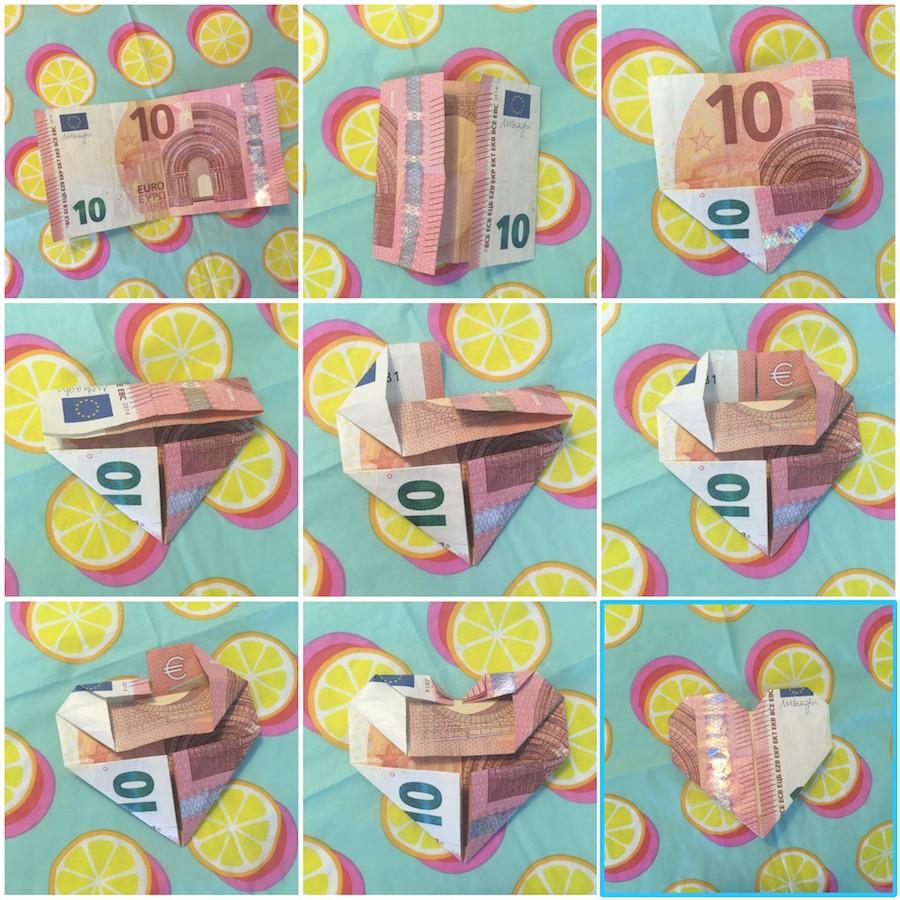 hartje vouwen van geld, diy geld in een hartje vouwen, origami met centjes, geld op kinderfeestje