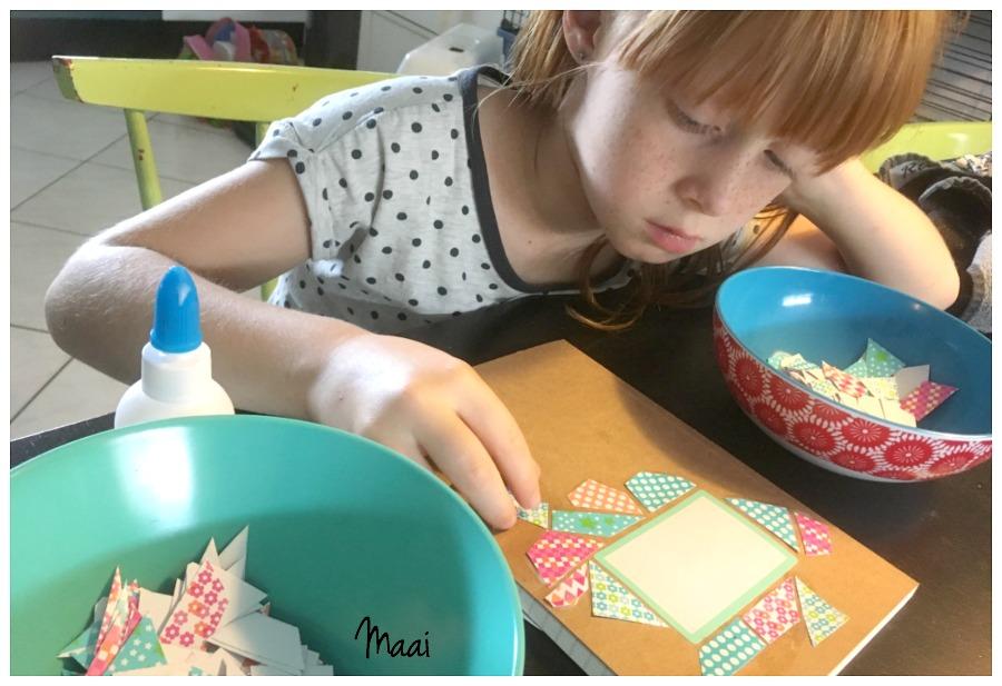 notitieboekje mozaieken, juffencadeau, moederdagcadeau, knutselen met kinderen, crafts for kids
