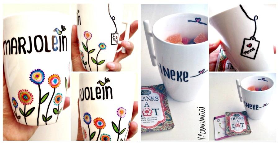 porseleinstiften, thee mok tekenen