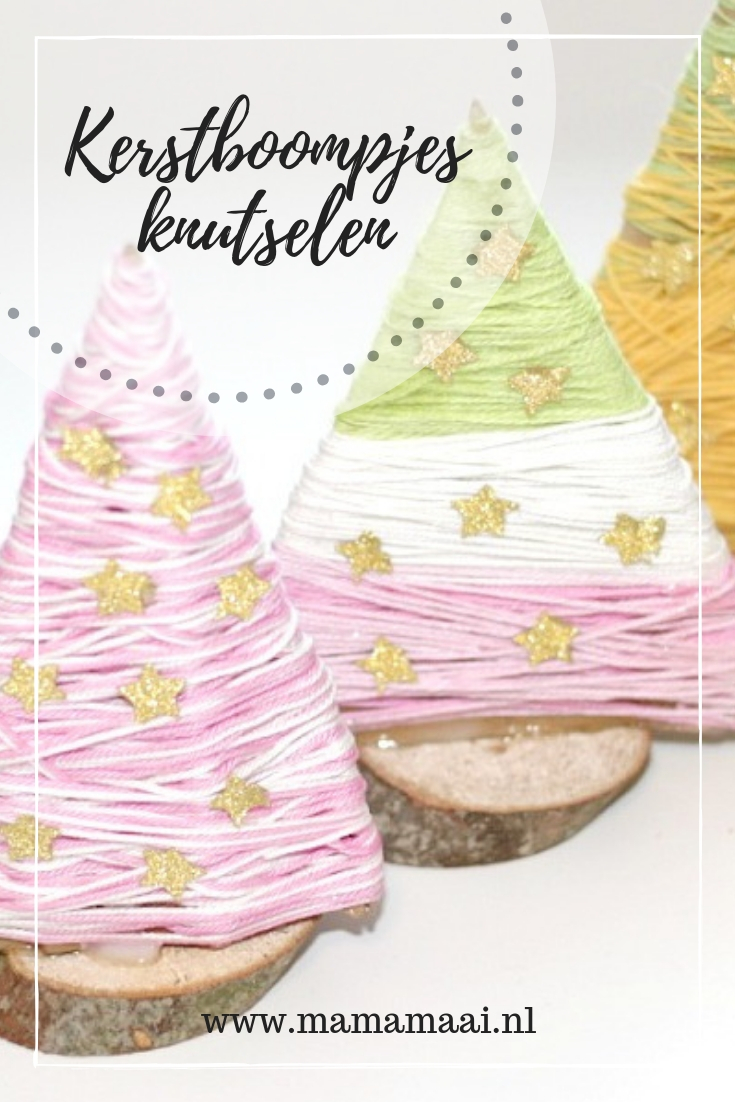 kerstboom knutselen, knutselen met wol en karton, christmas craft for kids