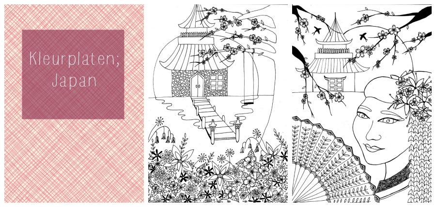 kleuren voor volwassenen, oosters, botanische tuin, japan, geisha