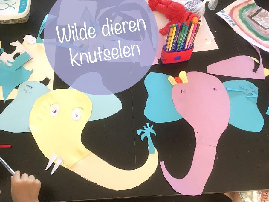 wilde dieren knutselen, olifantjes van papier karton, knutselen met kinderen, crafts foto kids