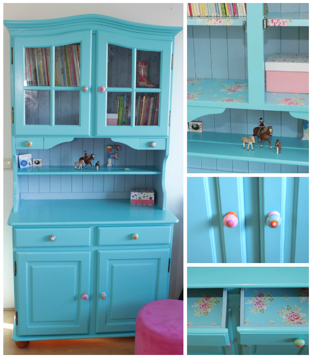 DIY make over blauwe kast, kinderkamer, tweedehands, kringloop