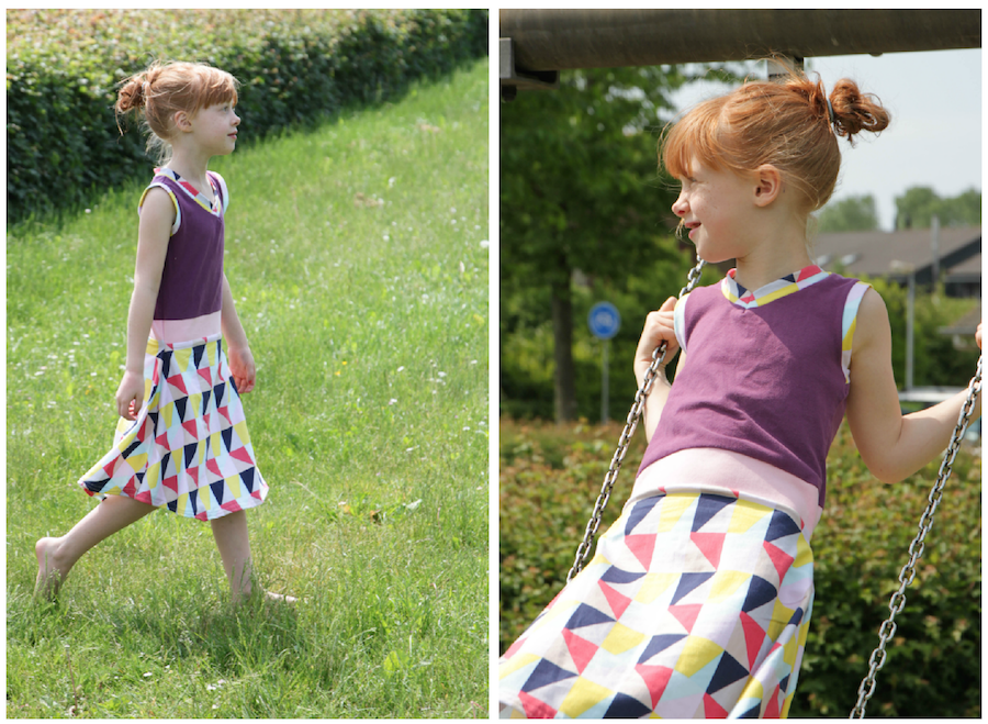 zomerjurkje van oud shirt, recykleren, jurkje van oud shirt, naaien, creatief, diy, sewing, tricot